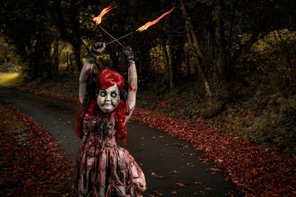 Scary Halloween entertainers 'Toys of Torture' perfect for Halloween themed events.