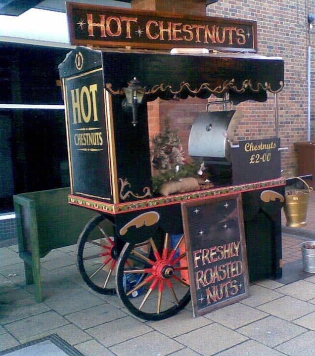 Victorian Chestnut Cart for hire. Our Chestnut Cart is available to book for Christmas-themed events, Victorian-themed events or shopping centre events in London & the UK.