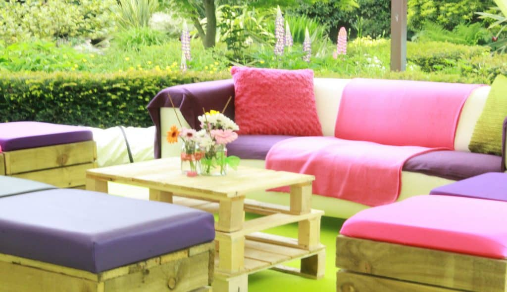Bespoke up-cycled pallet furniture we used to create the festival theme for our private client.