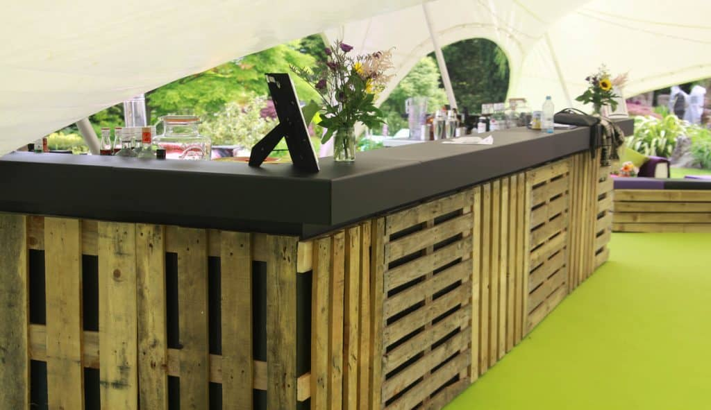 Pallet bar we created for our client's Woodstock themed party.