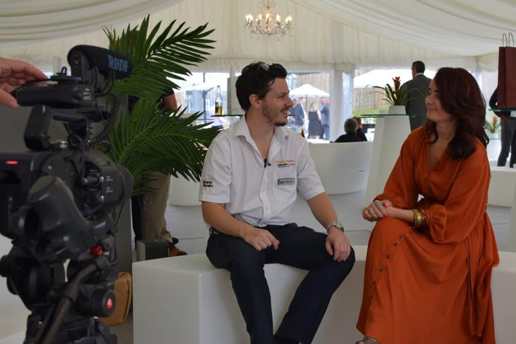 Richard Lane and Julia Charles-Wiginton discussing the Better Air concept and Champions of Sustainable Events and the impact it had on the Rotable Repairs event.