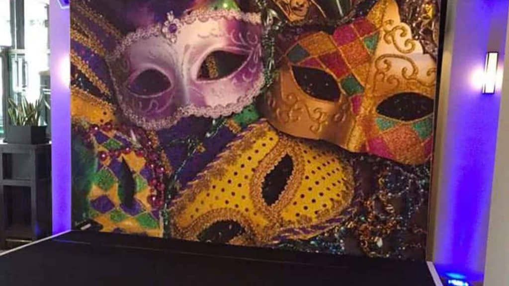 Large, bespoke masquerade and venetian event backdrop for special event