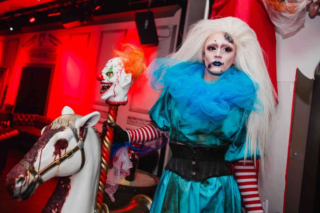 Halloween Zombie Drag Queen performer we hired for our client's Twisted Circus Halloween party in London.