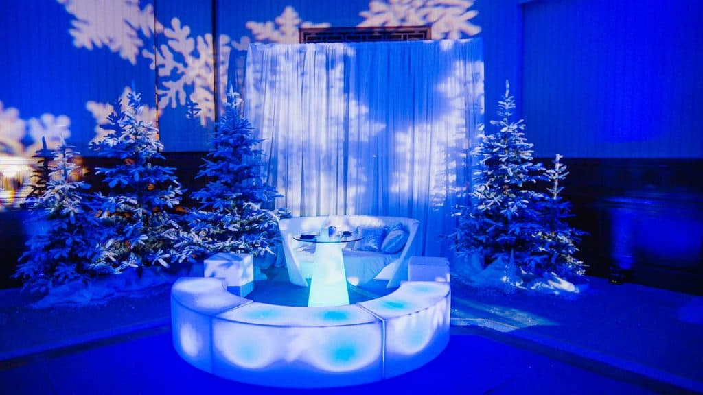 Winter Wonderland Event Decorations we used to transform this event space into a Winter Wonderland!
