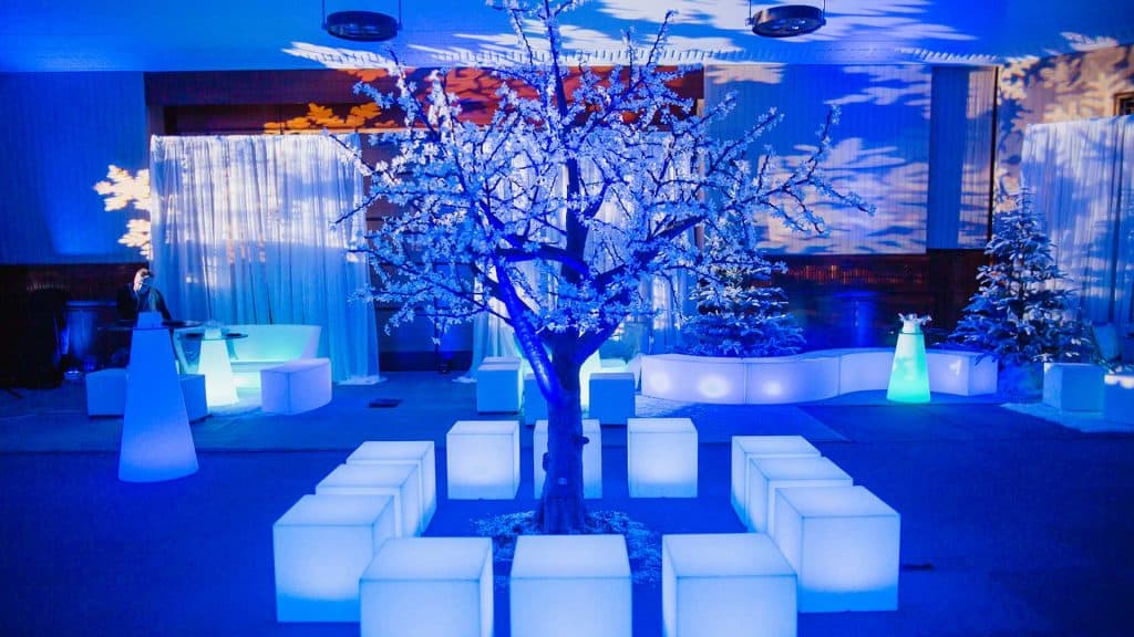 Winter Wonderland Tree decoration we used to transform this event space into a Winter Wonderland Theme.