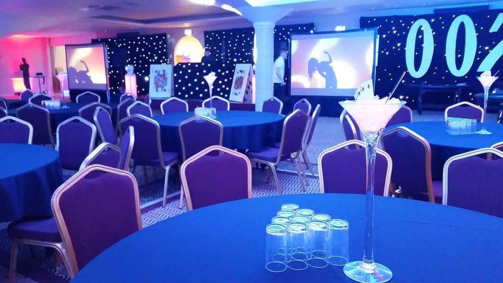 Bespoke venue transformation for James Bond themed Gala Dinner
