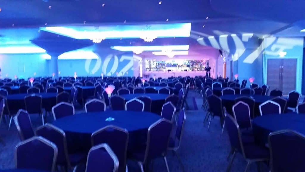 Bespoke lighting and projections as part of set for 007 themed event production