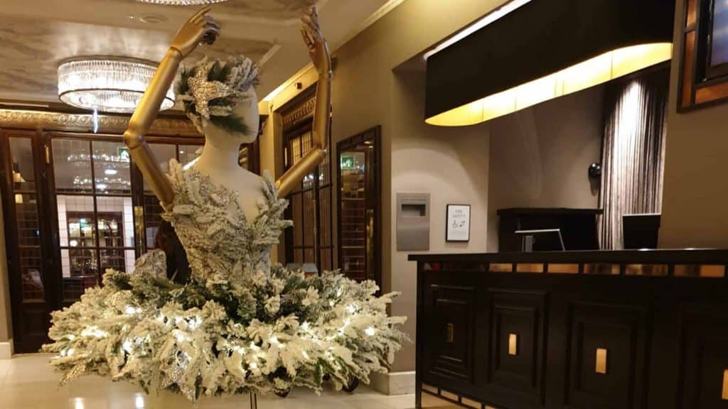 Christmas Decorations we created in the Reception room of the Waldorf Hilton London 2019.