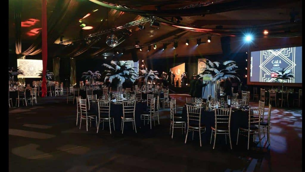 Great Gatsby inspired Gala Dinner using our Bespoke Venue dressing and Event Management services