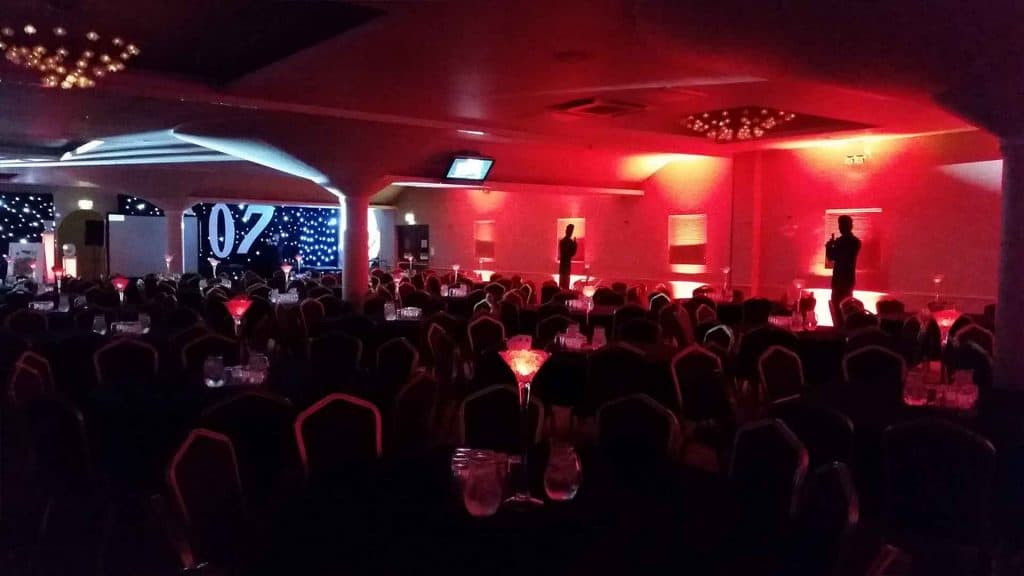James Bond themed Gala Dinner for corporate event. Venue dressing, installation and entertainment available to hire UK