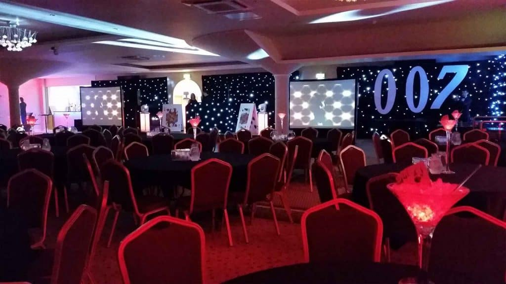 James Bond themed event space created for a Conference and Gala Dinner event.