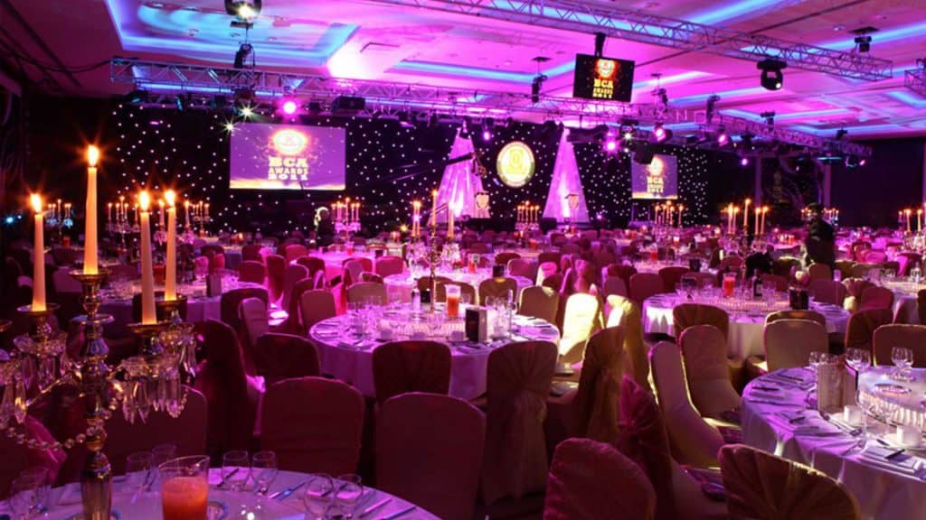 Masquerade ball venue dressing for corporate Galla Dinner. Theming available to hire UK