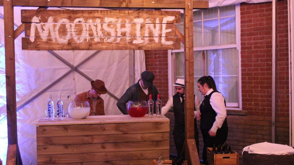 1920's prohibition themed event. Props to hire include Moonshine bar and venue styling.