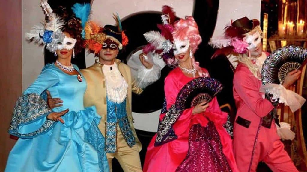 Renaissance themed masquerade performers. Available to hire to create an authentic event