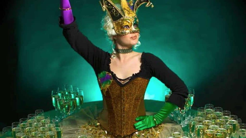 Masquerade themed human table available to hire for handing out drinks and your event.