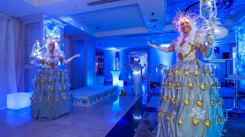 Walk about meet and greet winter wonderland themed drink girls.