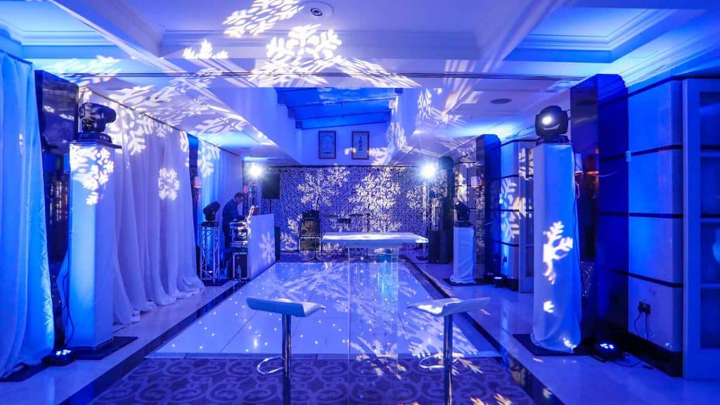 Winter wonderland venue theming and styling for corporate party, Available to hire UK