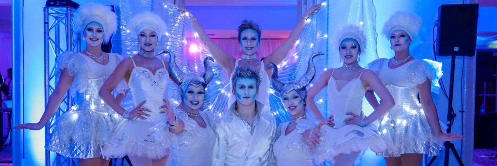 Assortment of performers hired for winter wonderland corporate event