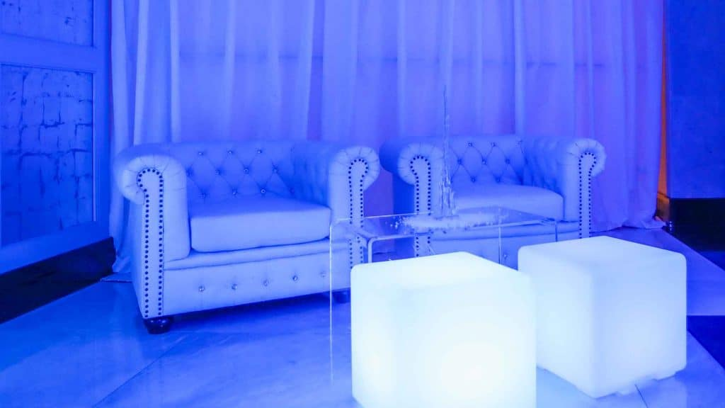 Stylish winter wonderland themed seating area. Available for hire UK