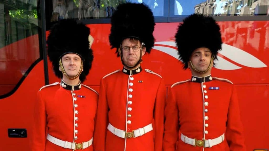 Comedy Palace Guards Trio in uniform.