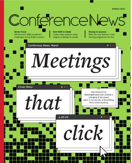"""Conference News March 2020 """"Meetings That Click"""" front magazine cover."""