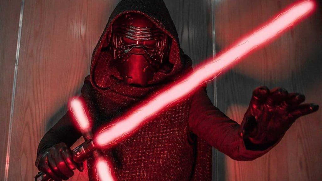 Kylo Wren character with lightsaber available to hire for futuristic Sci-Fi theme