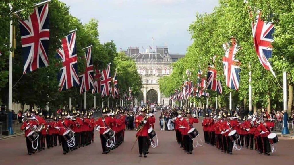 Marching band performing in parade in London to commemorate Victory in Europe Day