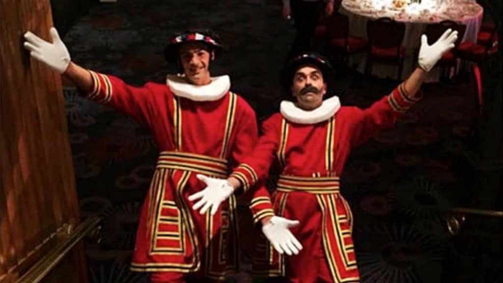 Royal Beefeater Duo in Red Royal uniforms.