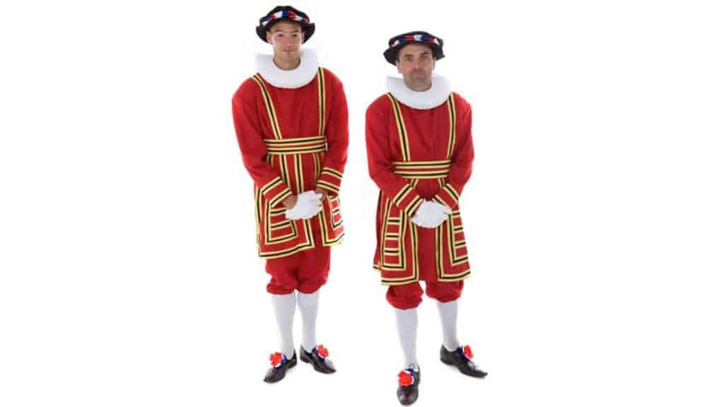 Royal Beefeater Duo in bespoke red and yellow Royal Uniform.