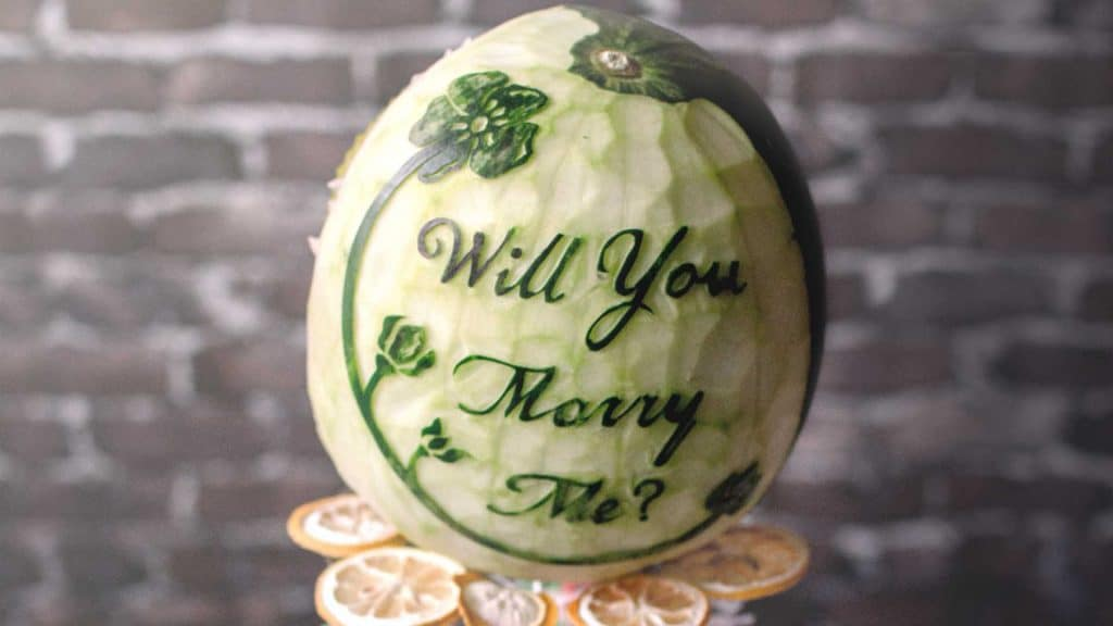 Carved Watermelon Proposal Message.