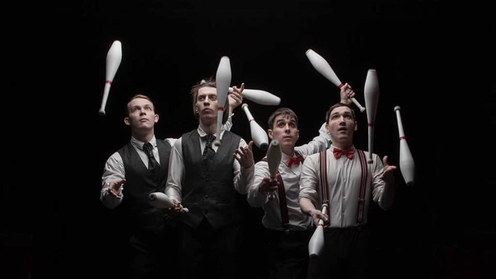 Chic group of male circus jugglers. Performing for Circus theme party. Available to hire UK