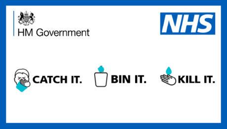 """HM Government NHS """"Catch It. Bin It. Kill It"""" slogan."""
