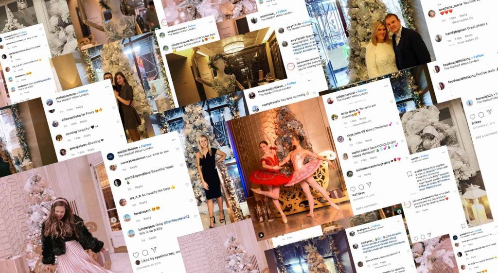 Waldorf Hotel Christmas Decorations online social media reaction collage.