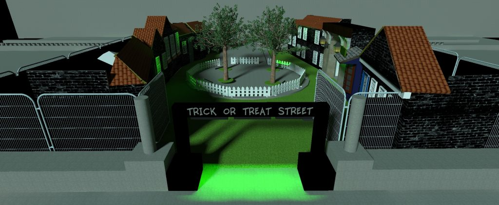 Trick or treat street 3d CAD drawing set design and build for halloween event for children