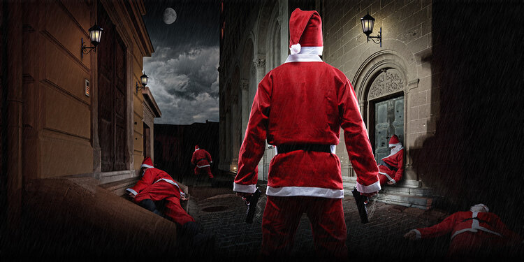 Santa Claus with a weapon in his right hand in a dim-lit urban street. This scene is part of our Christmas Themed Murder Mystery, interactive Virtual Experience, available to book for Online Events this Christmas. Great for Corporate Clients and more.