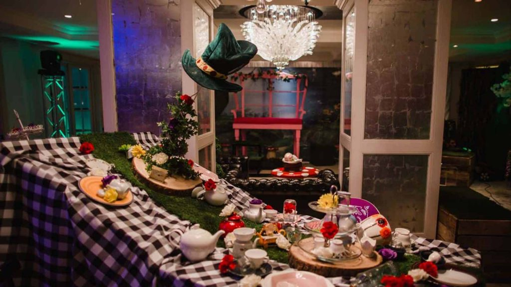 We transformed this London venue into a scene straight out of Alice in Wonderland with our Creative event theming. Featuring a giant tea party and Alice in wonderland props.