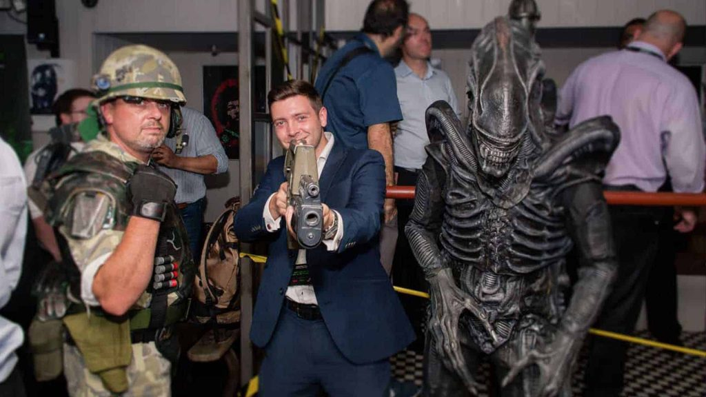 To theme this  creative event we used a variety of resources including transforming our clients venue into a set from Alien and inviting walkabout characters to meet and greet guests.