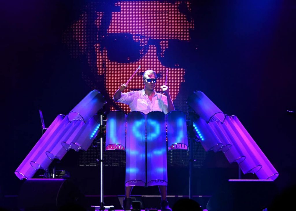 LED Technology Drummer performing on stage with high-end AV production. We have a wide range of technology entertainment for hire, attractions and musical entertainment for hire for events in London, UK and across the World.