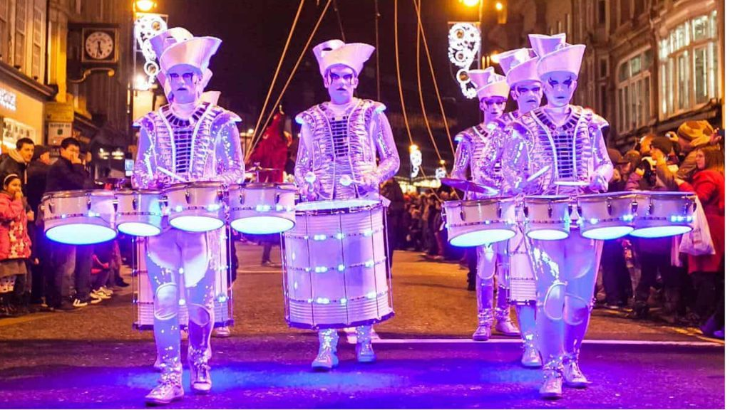 LED Drumming Troupe available for parades, shows, events and Christmas parties across the UK and around the world