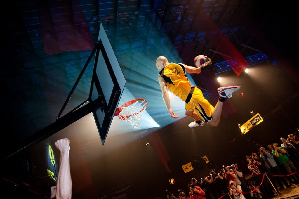 Basketball Freestyle Show being performed in front of a live audience at a sports event in the UK. We have a wide range of sports entertainment for hire in the UK and Worldwide.