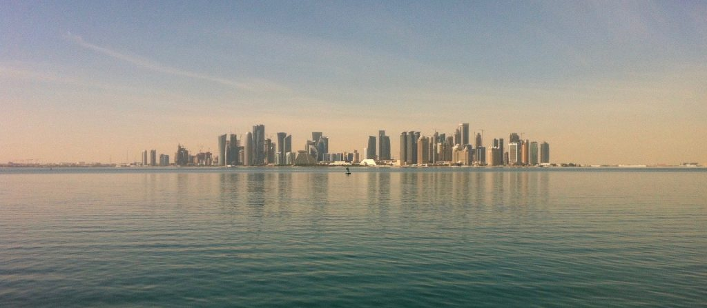 City scape of Doha. Doha is one of the cities that will hold several stadiums for the Qatar 2022 FIFA world cup