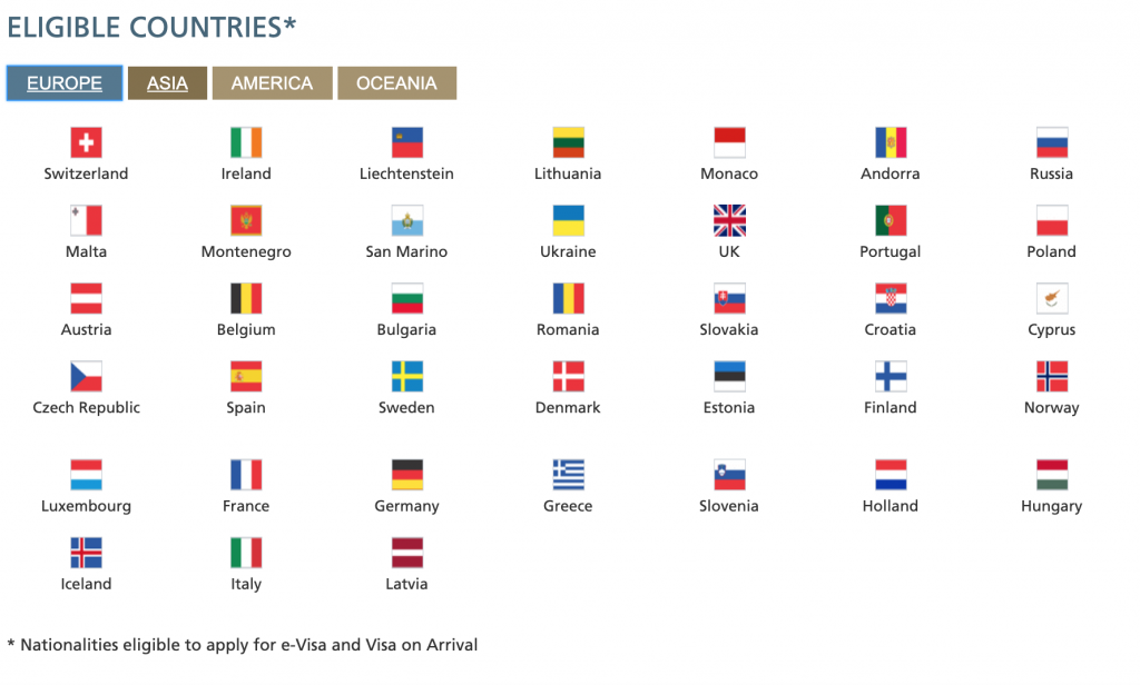 Eligible countries in Europe who can now apply for the new Saudi Arabia tourism visa