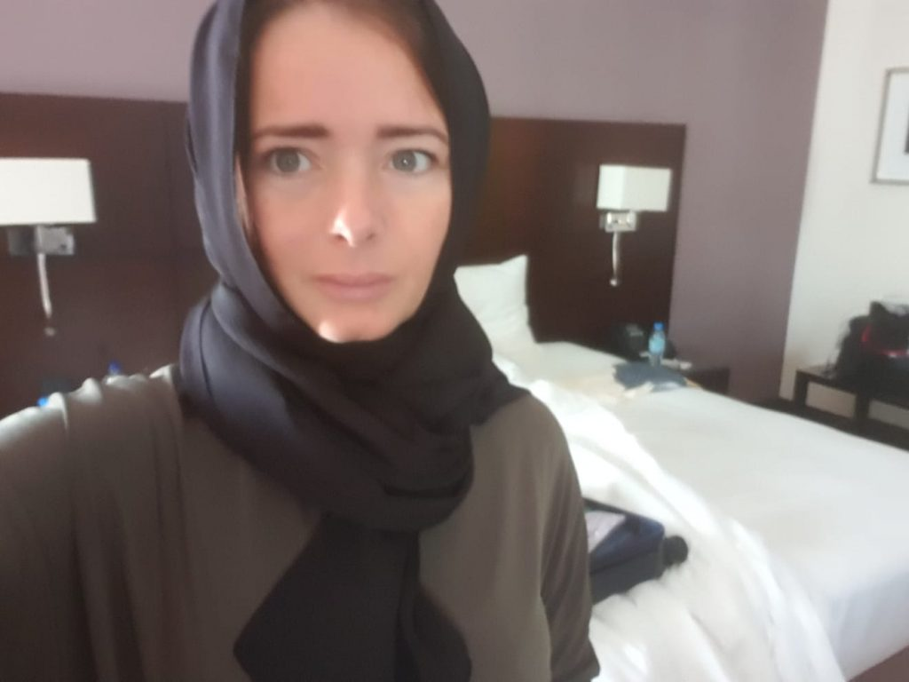 Business women wearing headscarf and appropriate clothing for meeting in Saudi Arabia