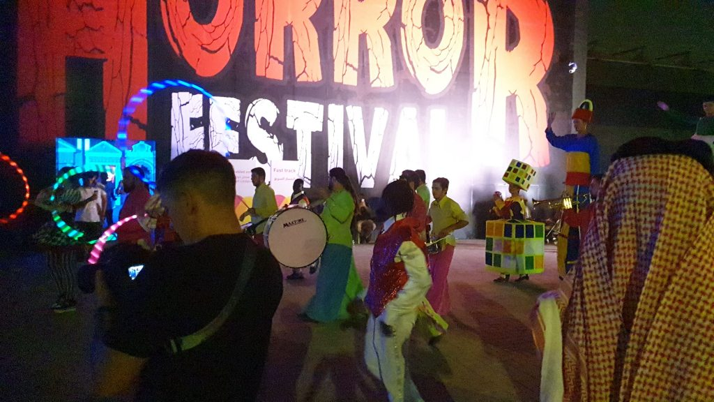 Entrance into Horror Festival Saudi Arabia featuring parade of walk about performers