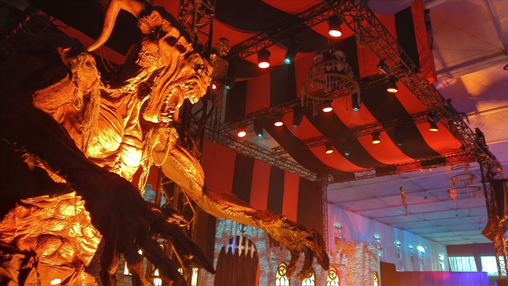 Close up of giant monster prop used to dress venue space for Horror Festival in Riyadh, Saudi Arabia