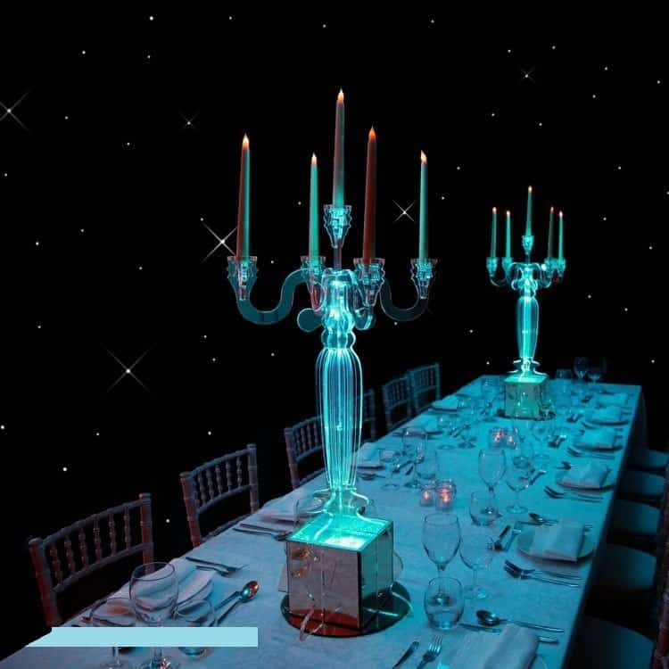 Clear LED Candelabras available to book as a luxury table centrepiece for Weddings, Corporate Events, Gala Dinners and other events in the UK and Worldwide.