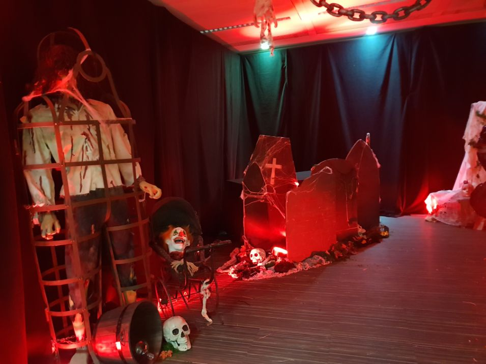 Office Space Halloween Theme transformation complete with a range of Halloween props and decorations, completed by the Julia Charles Event Management team.