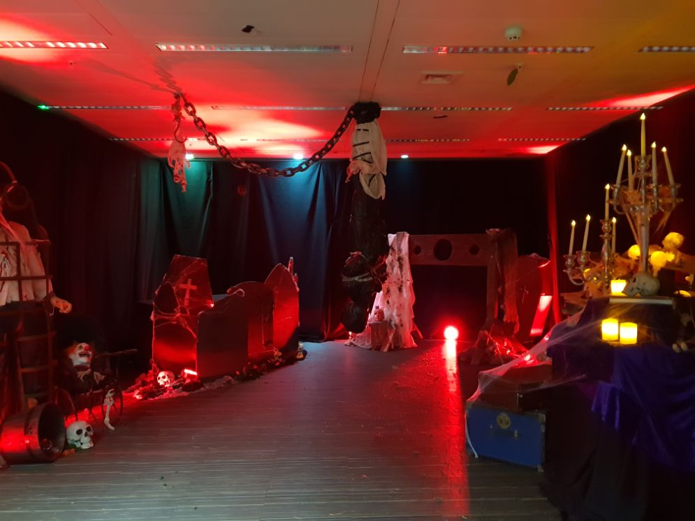 Office Space transformation into the Halloween theme using our halloween office decoration service.