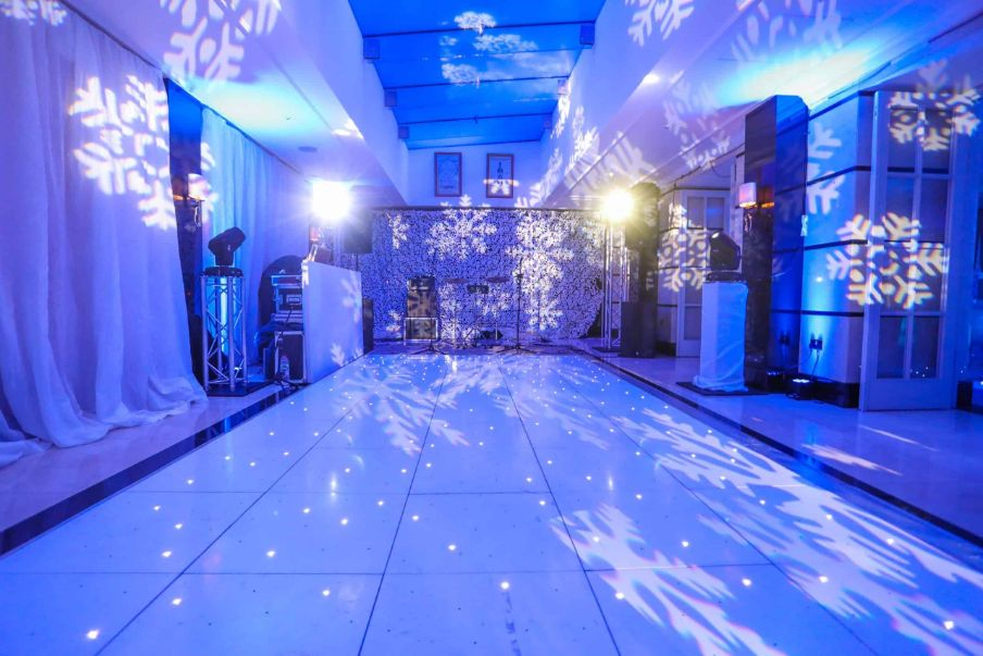 Bespoke White Sparkling Dance Floor we created for the Conrad Hotel in London for our client's Winter Wonderland Christmas Party.