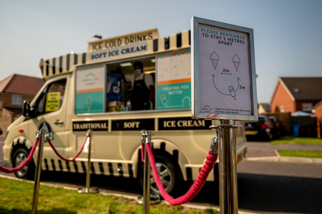 COVID guidelines compliant ice cream van we hired out for our client Simple Life. This covid safe ice cream van is available to hire for private and corporate clients across the UK.